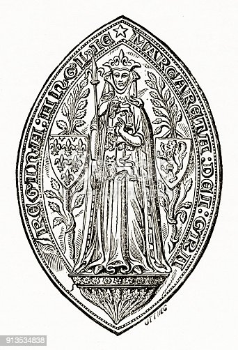 Rare and beautifully executed Engraved illustration Representation of the Seal with Scepter of Margaret, Queen of Edward I Engraving from The History and Principles and Practice of Symbolism in Christian Art, by F. Edward Hulme and Published in 1891. Copyright has expired on this artwork. Digitally restored.