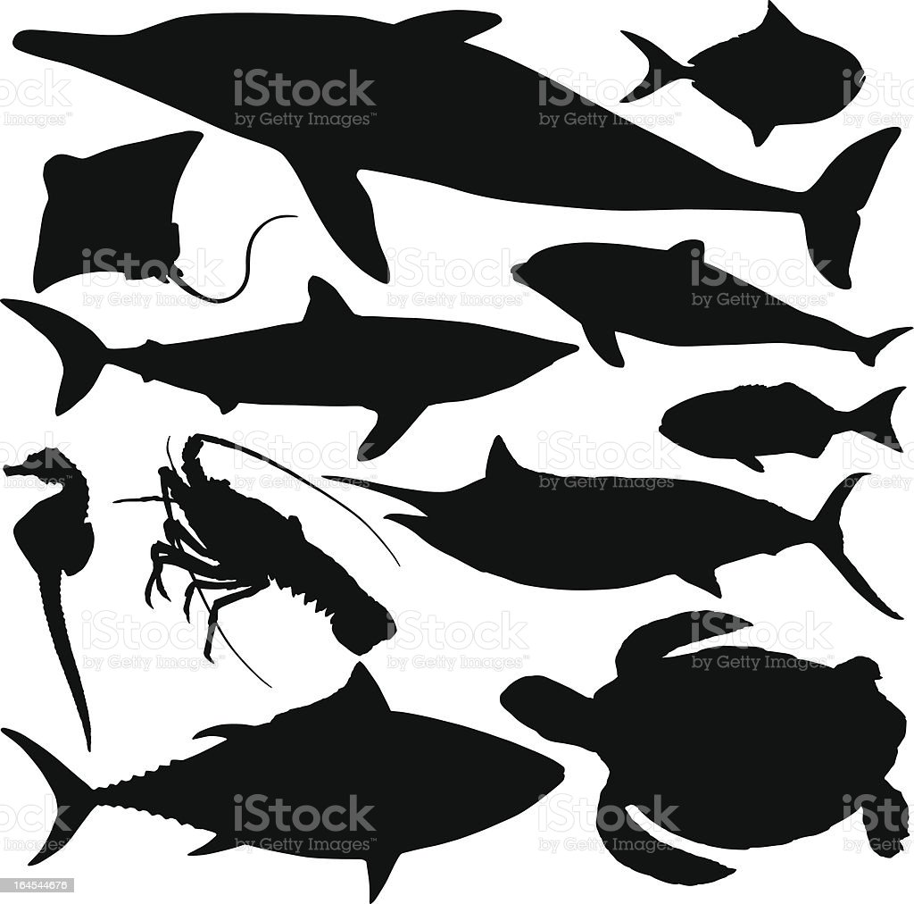 Sealife Silhouettes vector art illustration