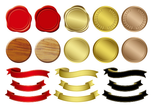 Sealing wax,wood icons and gold medals