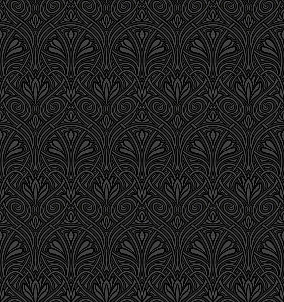 Seamless Jugendstil wallpaper vector art illustration