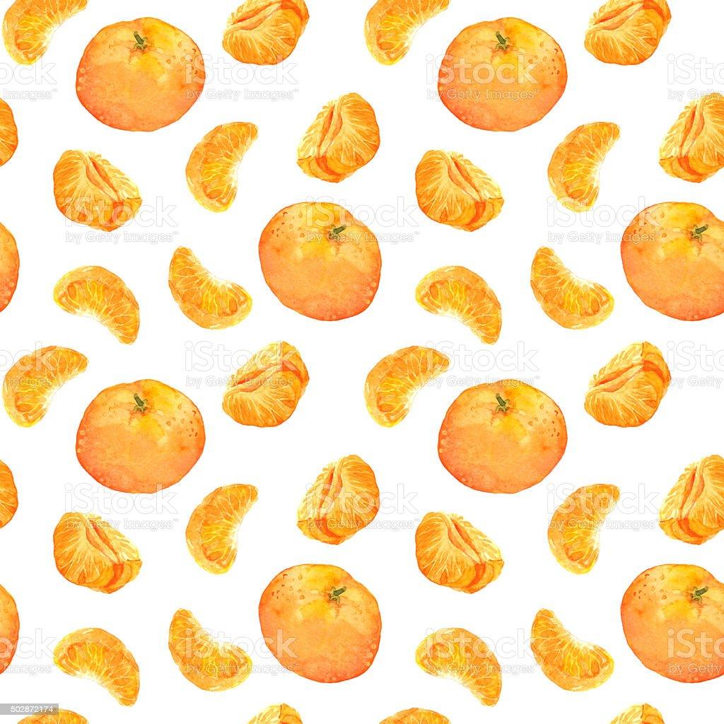 Seamless backdrop with orange mandarin fruits vector art illustration