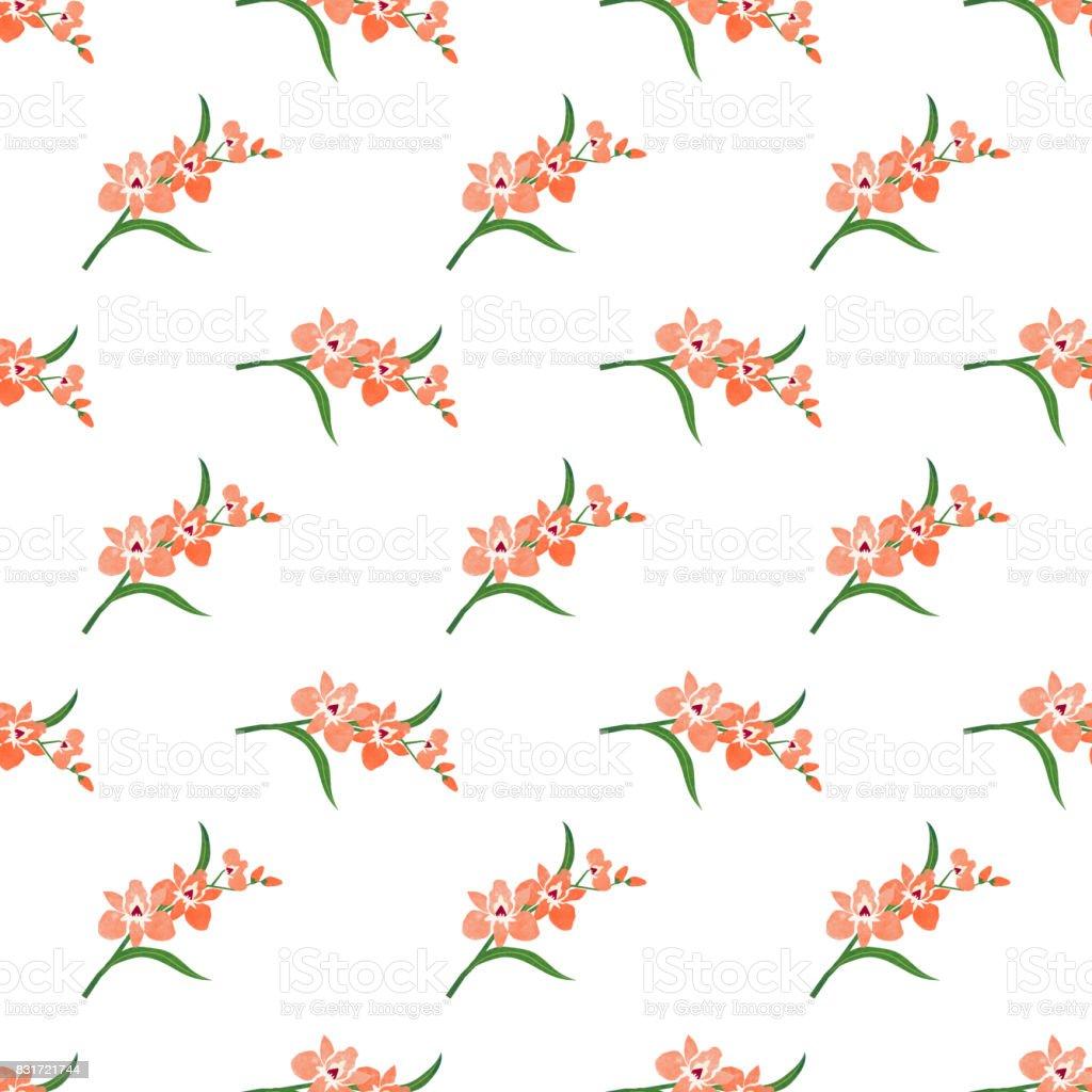 Seamless background image colorful watercolor texture botanic flower leaf plant orange orchid vector art illustration