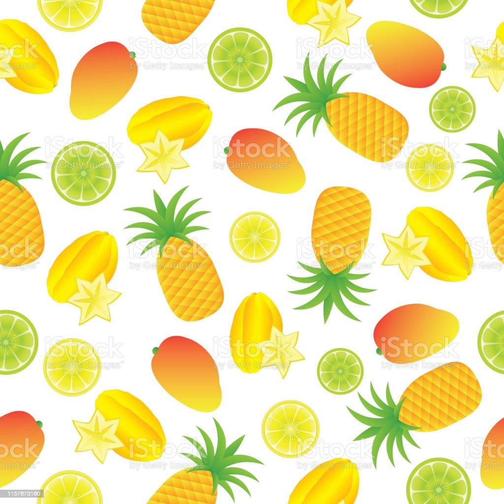 壁紙に適したトロピカルフルーツと夏のイラストのシームレスな背景 みずみずしいのベクターアート素材や画像を多数ご用意 Istock