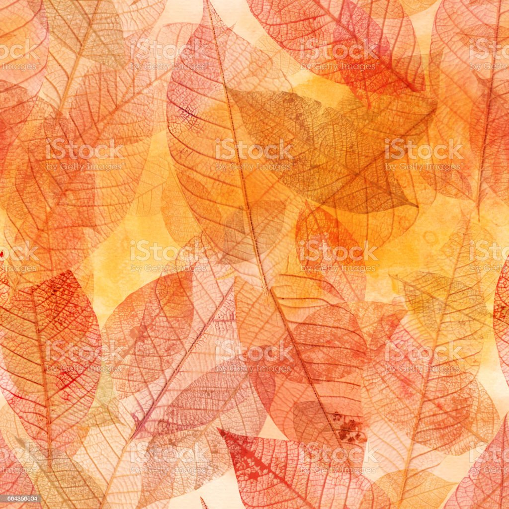 Seamless background pattern of golden skeleton leaves vector art illustration