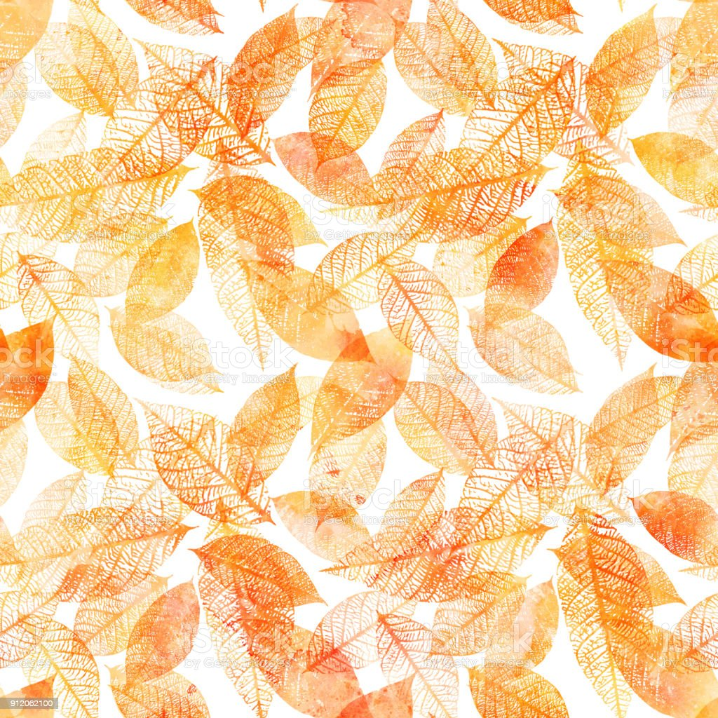 Seamless background pattern of golden tinted watercolor leaves vector art illustration