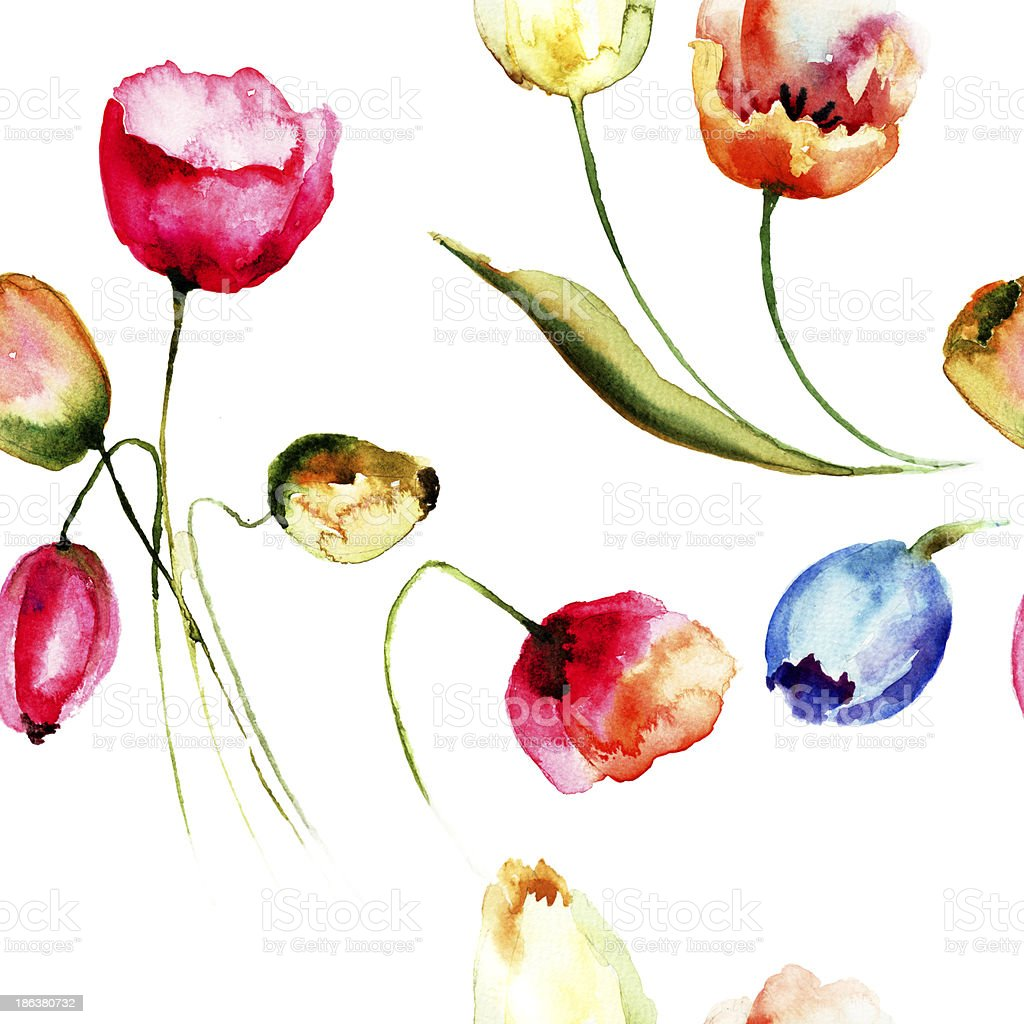 Seamless background with beautiful tulips flowers stock vector art seamless background with beautiful tulips flowers royalty free seamless background with beautiful tulips flowers stock izmirmasajfo