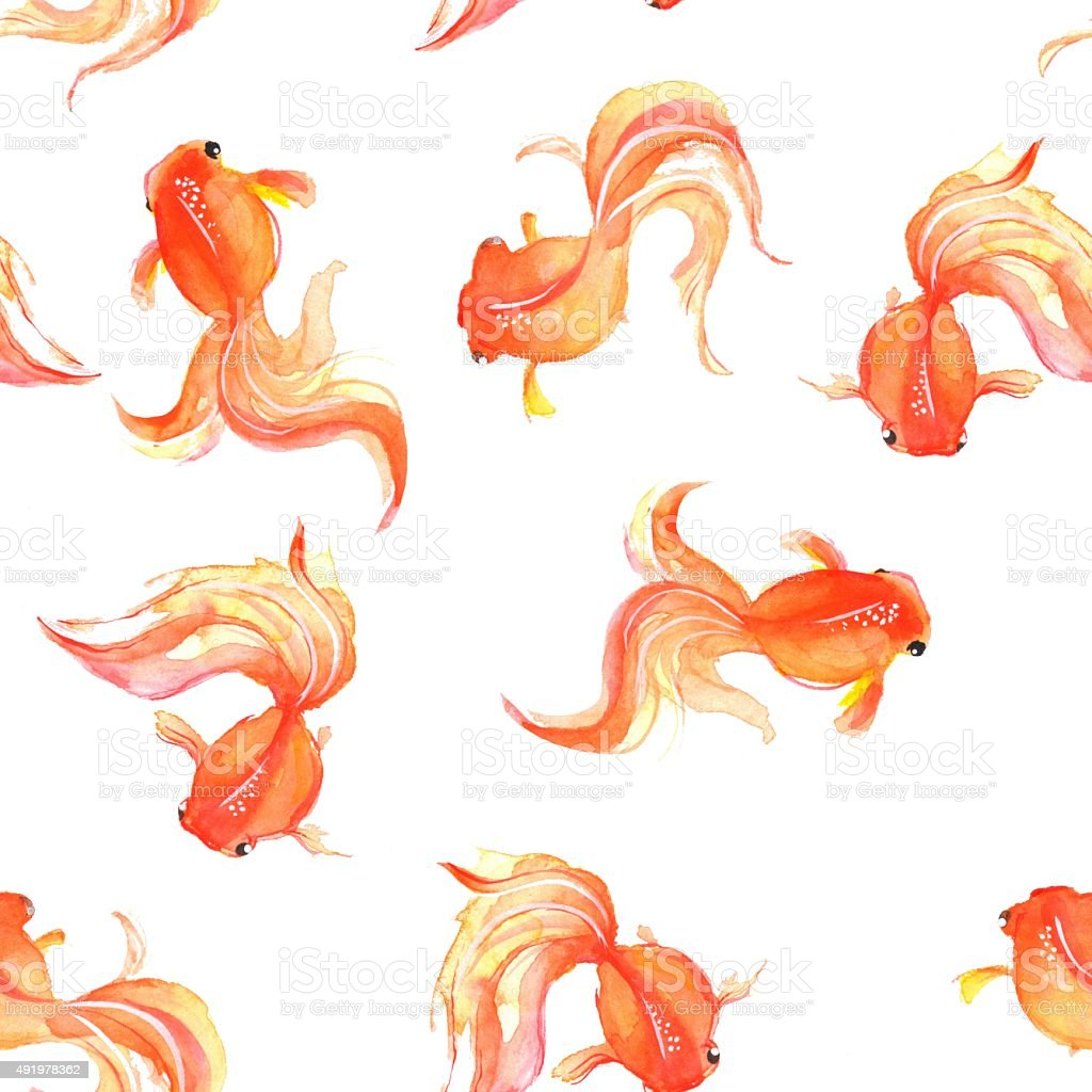 Seamless background with hand drawn goldfish 1 vector art illustration