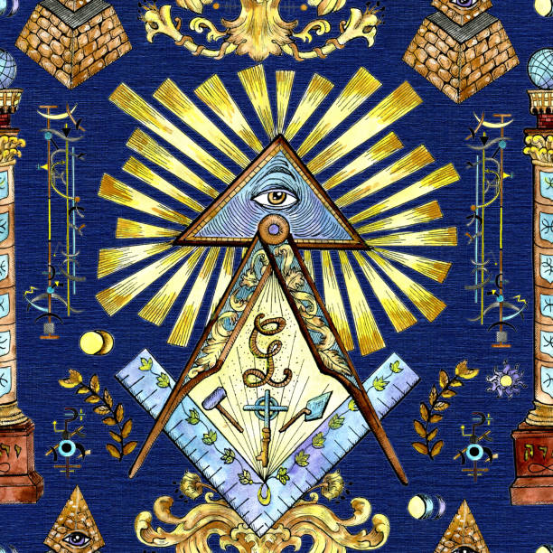 seamless background with mason and mystic symbols on blue - freemasons stock illustrations