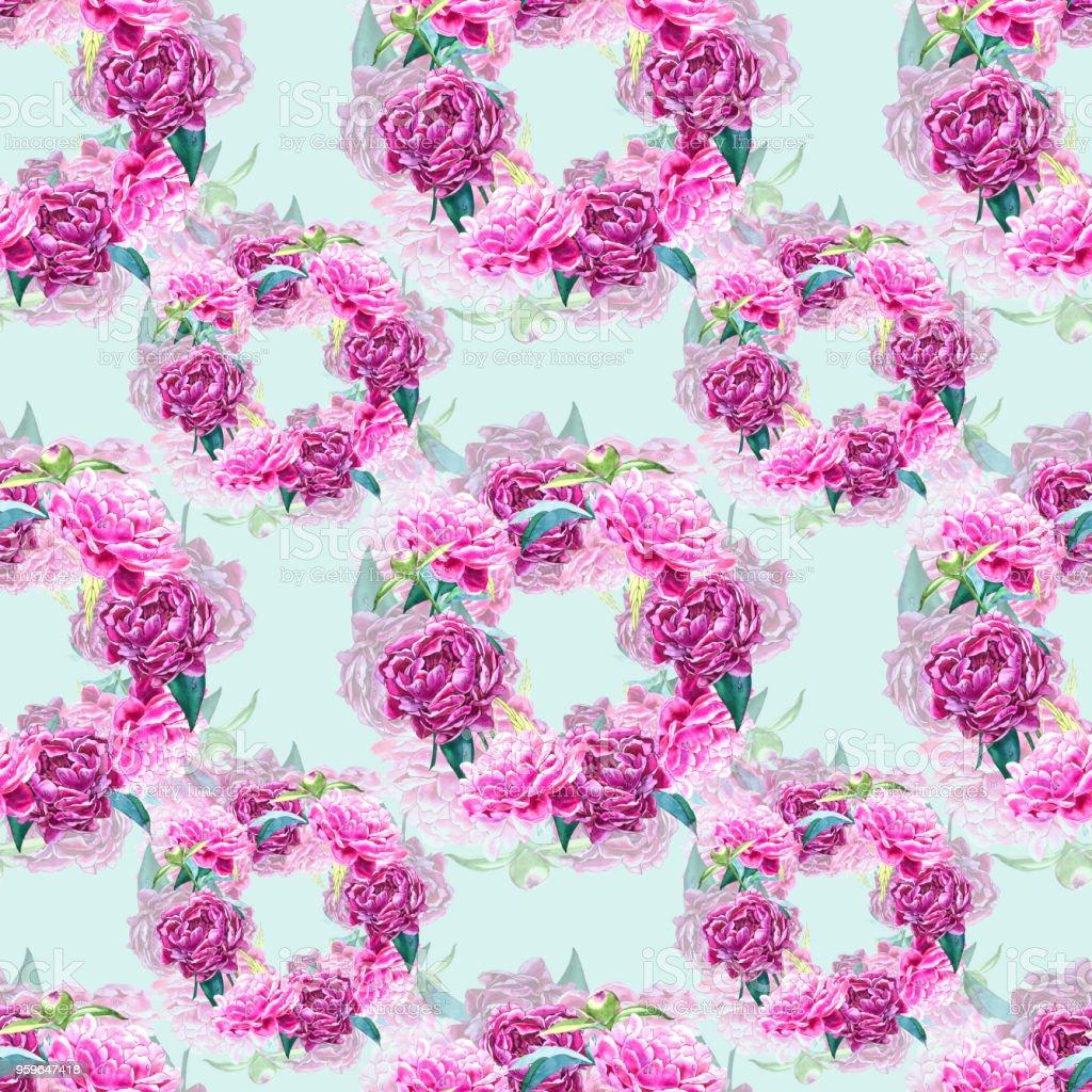 Fondo transparente con flores de peonía. Ilustración acuarela. Patrón floral dibujado mano gráfica. Diseño de la tela de materia textil. - Ilustración de stock de Abstracto libre de derechos