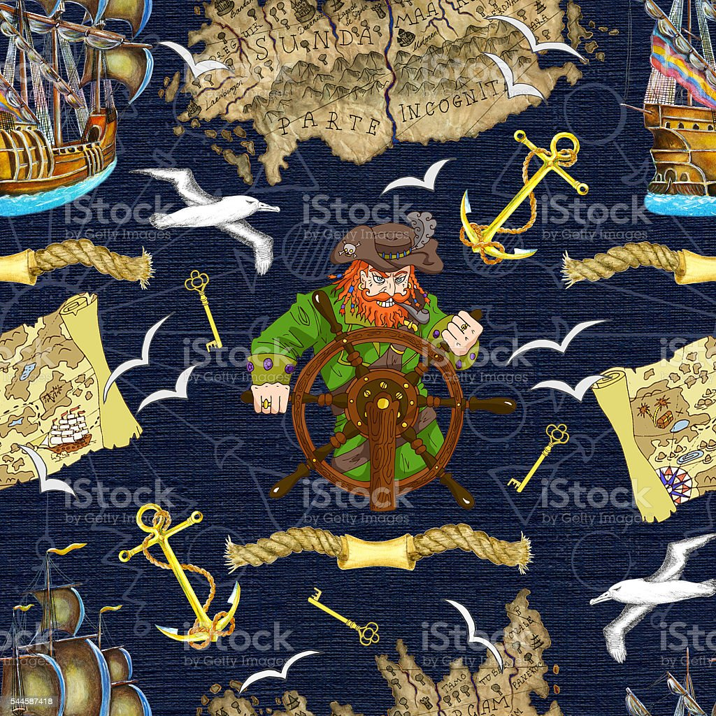 Seamless background with pirate captain looking for treasures vector art illustration