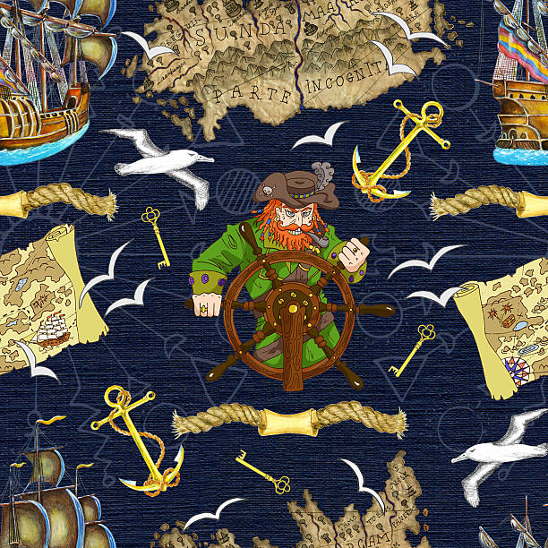 seamless background with pirate captain looking for treasures - treasure map backgrounds stock illustrations