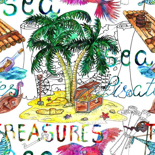 seamless background with treasure hunt concept on white - treasure map backgrounds stock illustrations