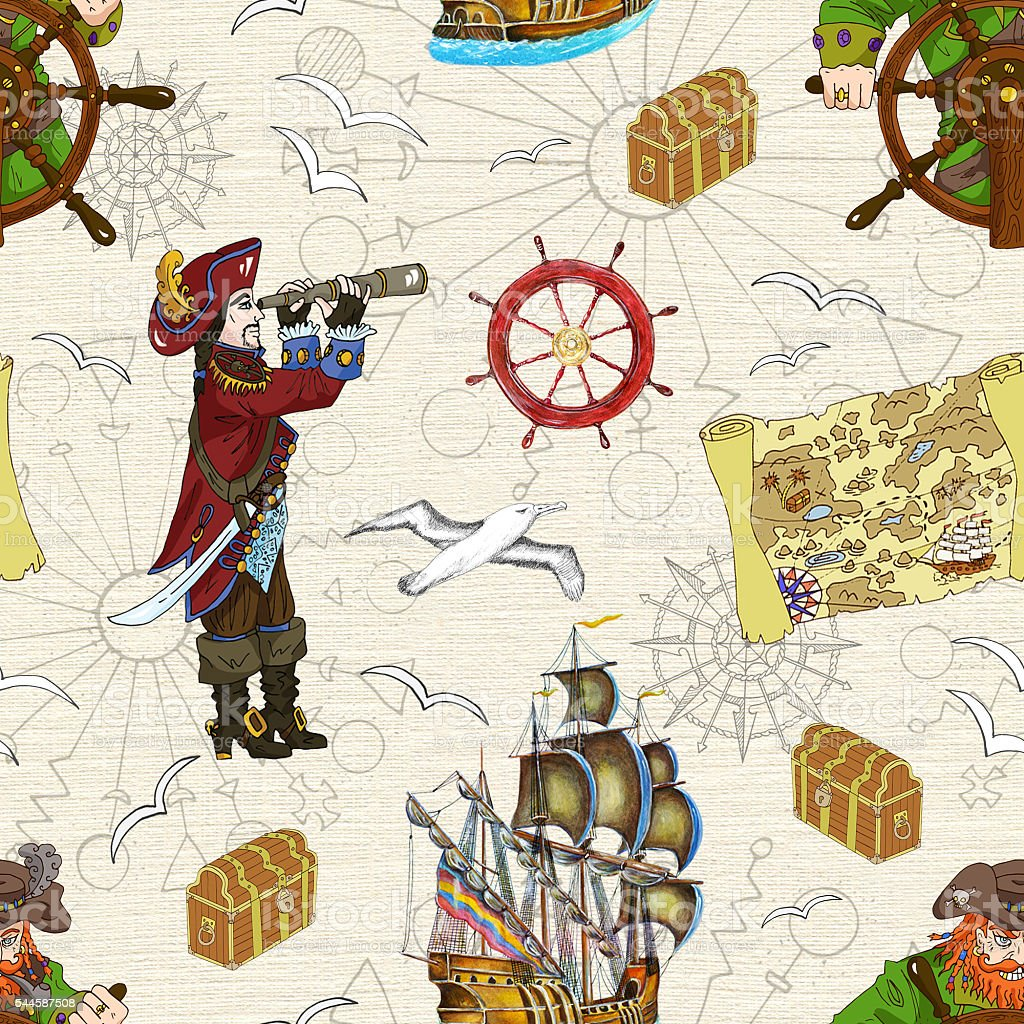 Sin costuras fondo con dos pirata con reposabrazos y mapa del tesoro - ilustración de arte vectorial