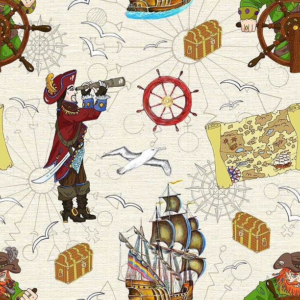 seamless background with two pirate captains and treasure map - treasure map backgrounds stock illustrations