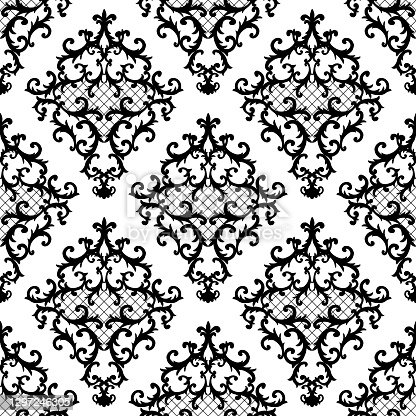 istock Seamless baroque style damask ornamental pattern. Hand drawn black texture on white background 1297246305