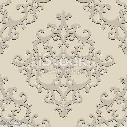istock Seamless baroque style damask ornamental pattern. Paper cut art craft beige texture 1297246300