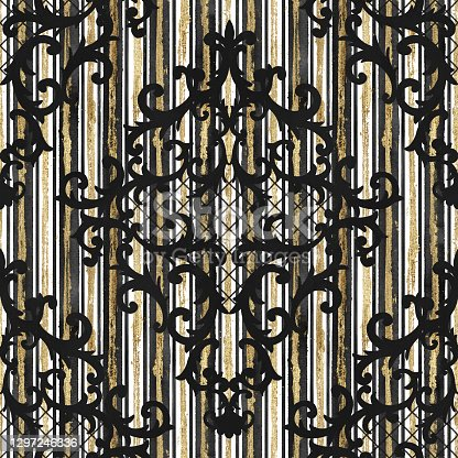 istock Seamless baroque style damask pattern. Contemporary and retro design print 1297246336