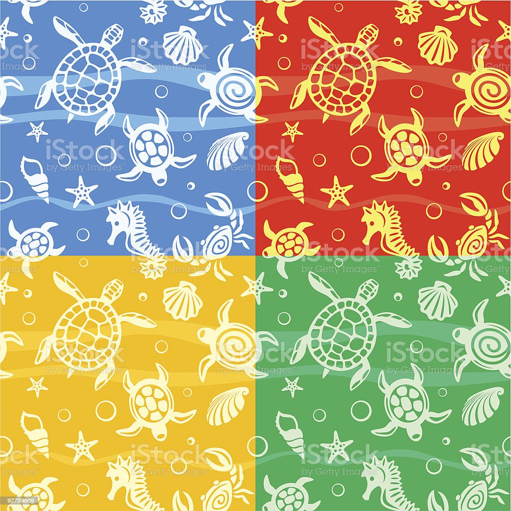 Seamless Beach Vector Patterns vector art illustration