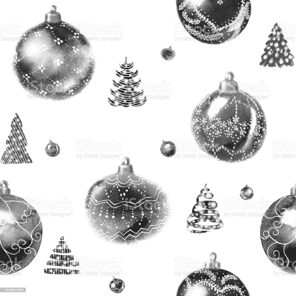 Seamless Black And White Pattern From Shining Christmas Tree Balls
