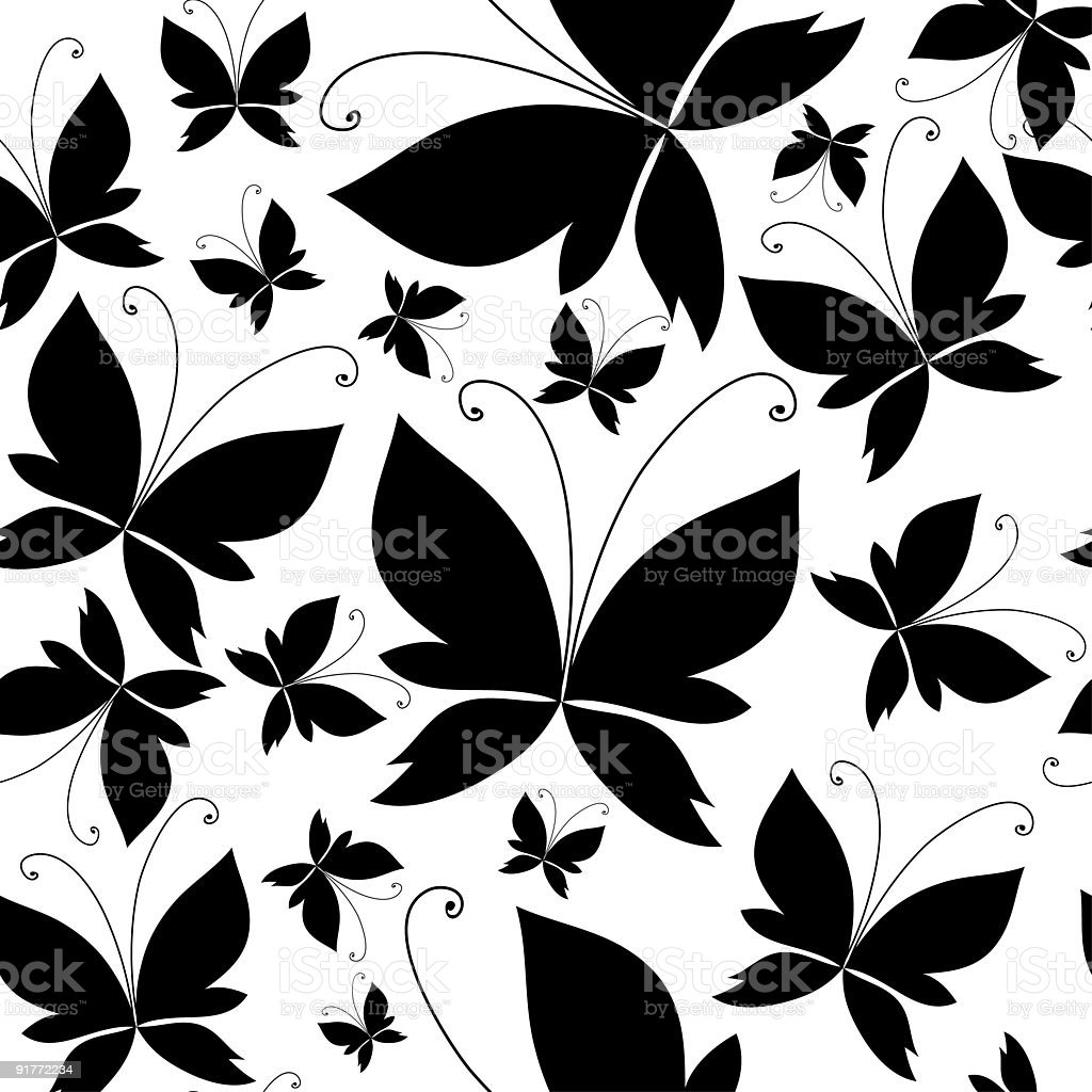 Seamless black butterfly pattern royalty-free stock vector art