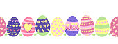 Seamless border Easter eggs. Cute hand drawn Easter egg repeating pattern with painted flowers, stripes, hearts in pastel colors green pink purple yellow. For greeting card, footer, divider, ribbons