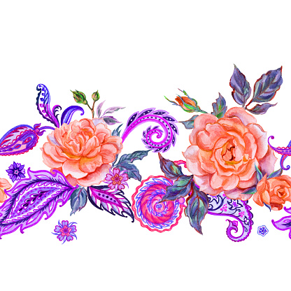 Seamless border of orange roses and paisley