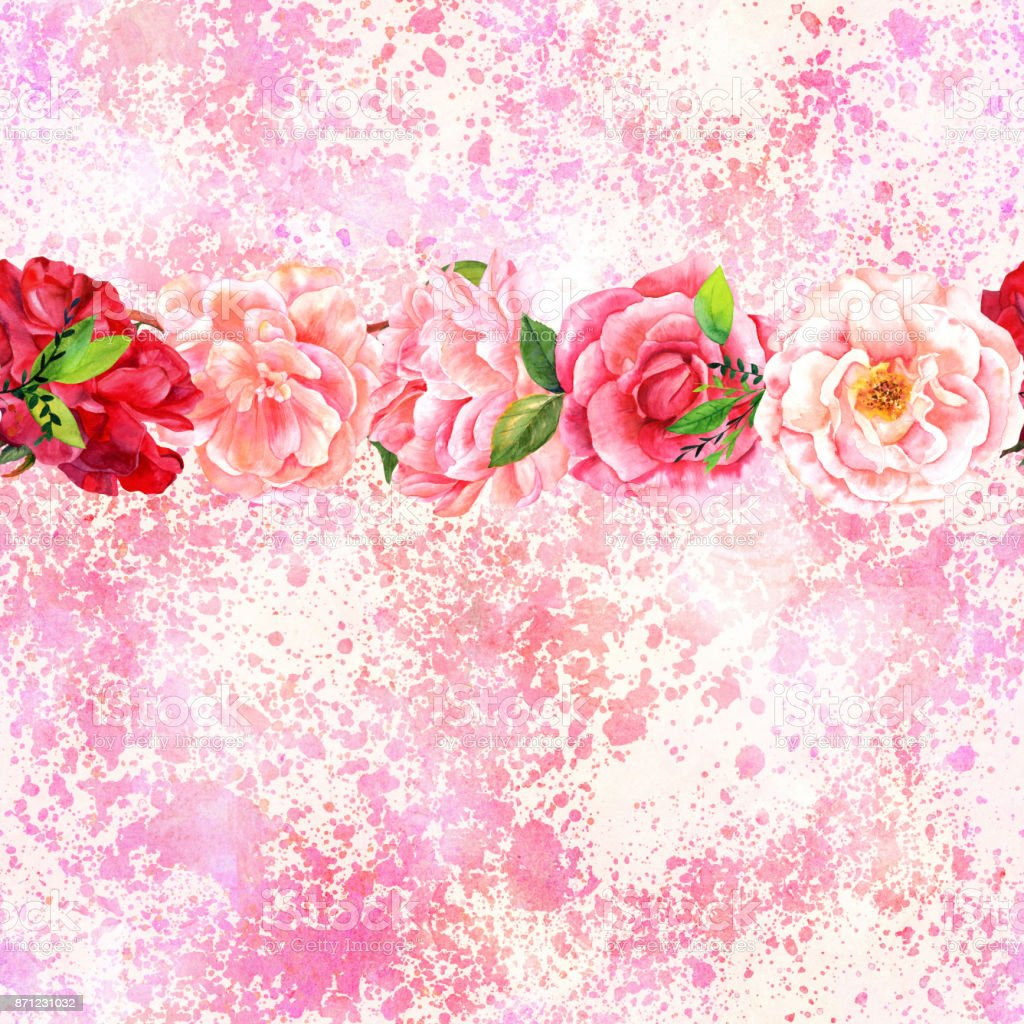 Seamless Border Of Watercolor Flowers On Pink Background Stock