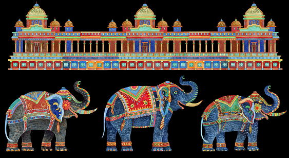 Seamless border pattern with fantasy ornate Indian elephants, antique architecture temple on a black background. Watercolor painting on colorful thin line contour, ethnic. T-shirt print, Batik paint