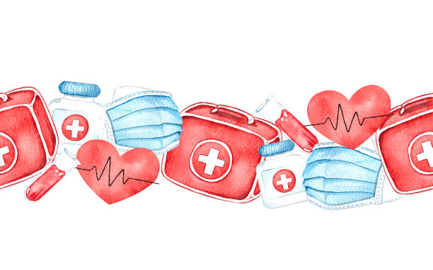 Seamless border with medical instruments, watercolor vector art illustration