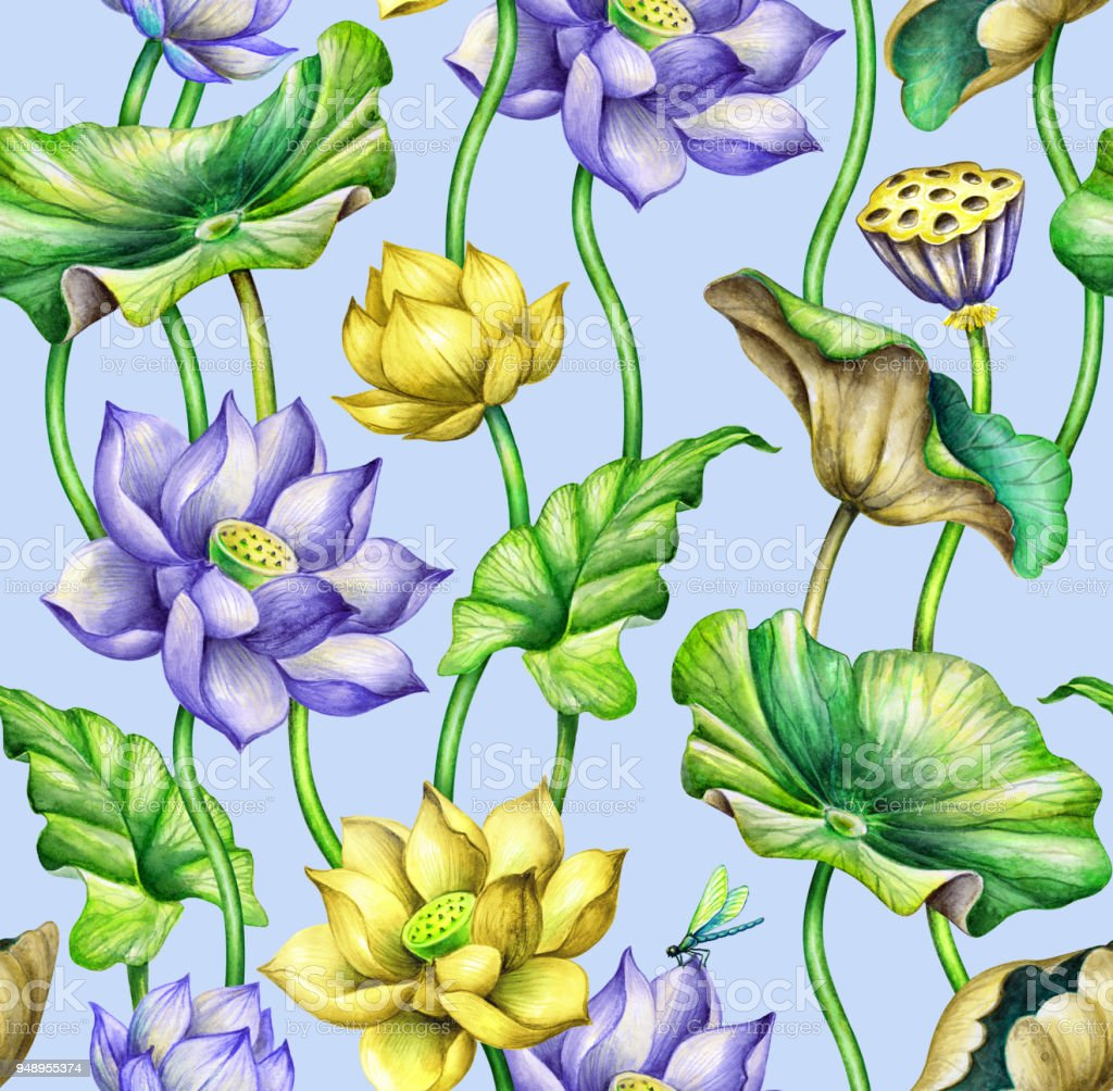 Seamless Botanical Pattern Watercolor Floral Background Blue And