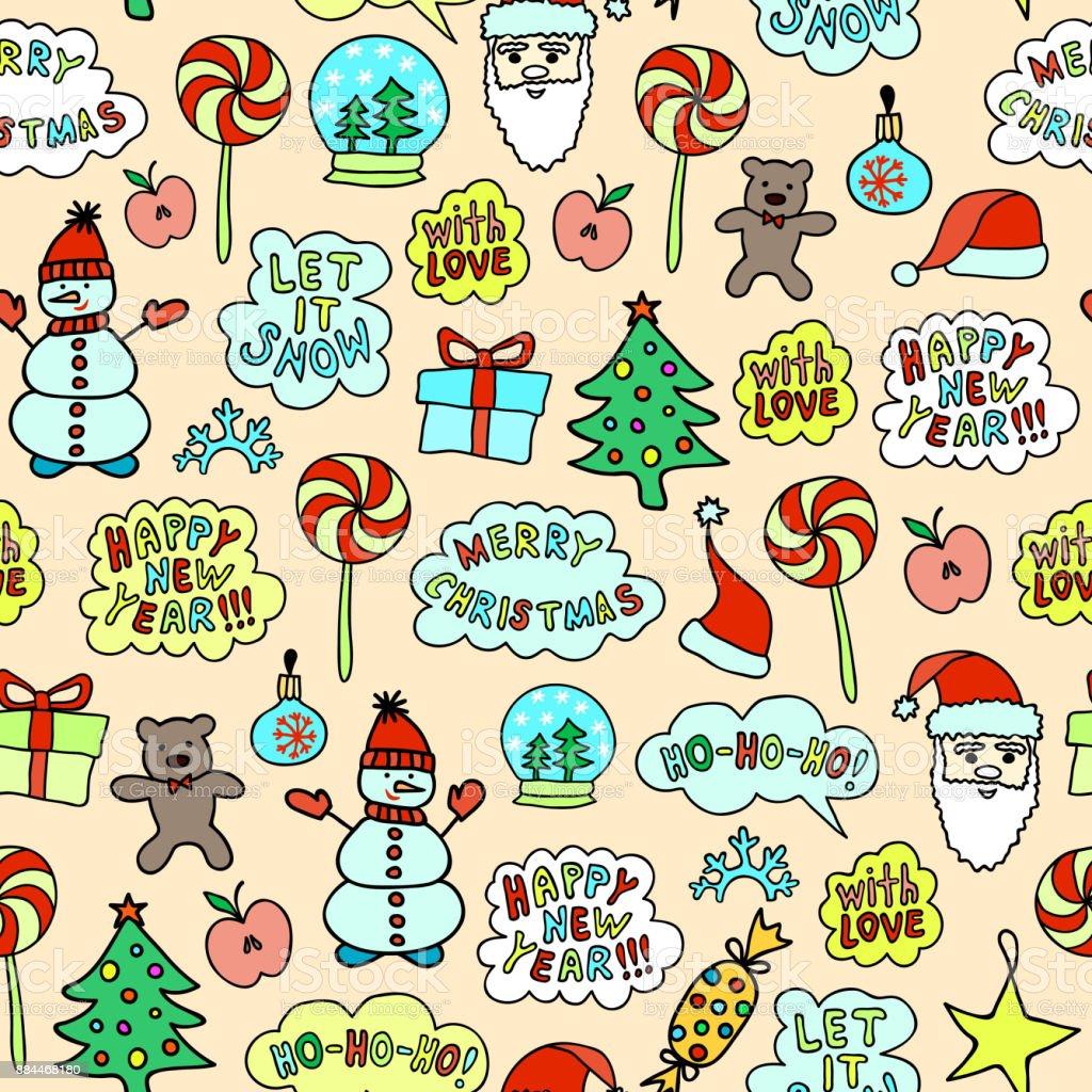 Seamless Cartoon Christmas Pattern On The Pink Background vector art illustration