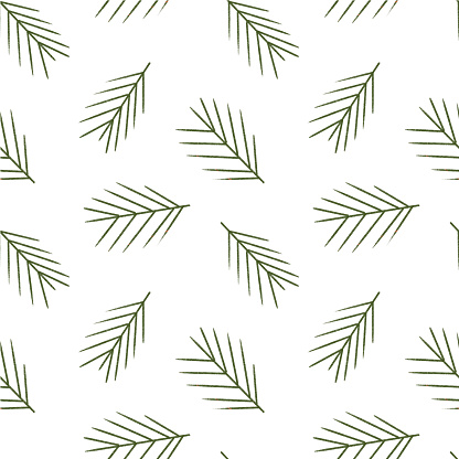 Seamless christmas pattern. Branches ate. Christmas tree.