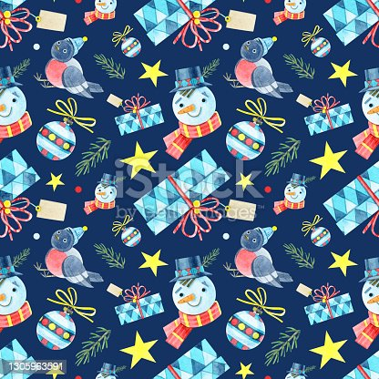 istock Seamless Christmas pattern. Jointless ornament with a snowman, bullfinch, gift box, ball, star, fir. Watercolor illustrations on a blue background. For winter holidays, new year and children's design. 1305963591
