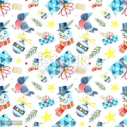 istock Seamless Christmas pattern. Jointless ornament with a snowman, bullfinch, gift box, ball, star, fir. Watercolor illustrations on a white background. For winter holidays, new year, children's design. 1316754721