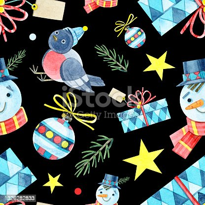 istock Seamless Christmas pattern. Jointless ornament with a snowman, bullfinch, gift box, ball, star, fir. Watercolor illustrations on a black background. For winter holidays, new year, children's design. 1326282833