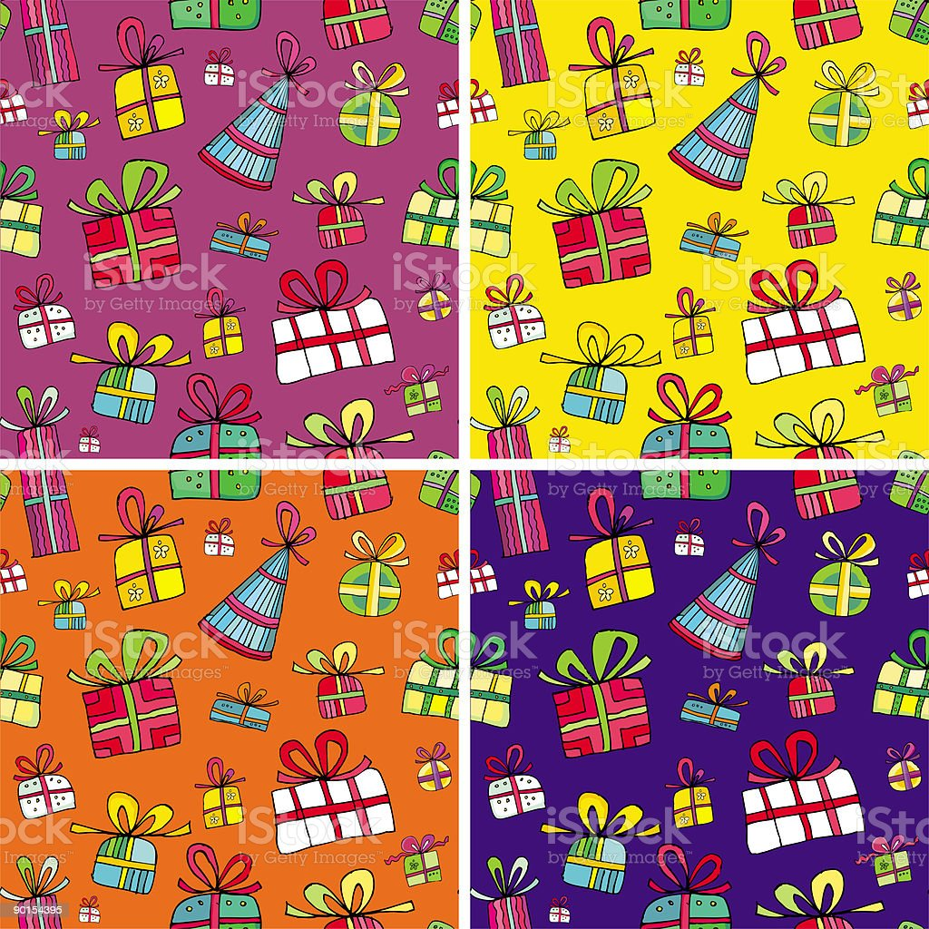 Seamless christmas presents pattern set royalty-free stock vector art