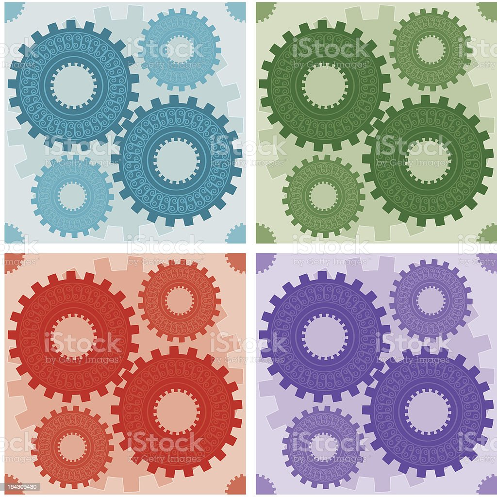 Seamless Coloured Gear Patterns royalty-free stock vector art