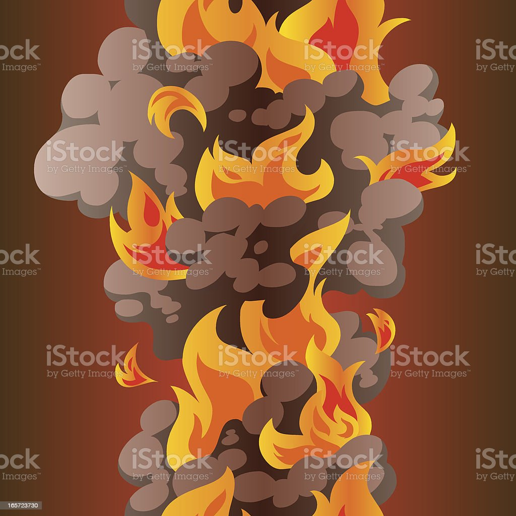 Seamless conflagration with fire and smoke royalty-free stock vector art