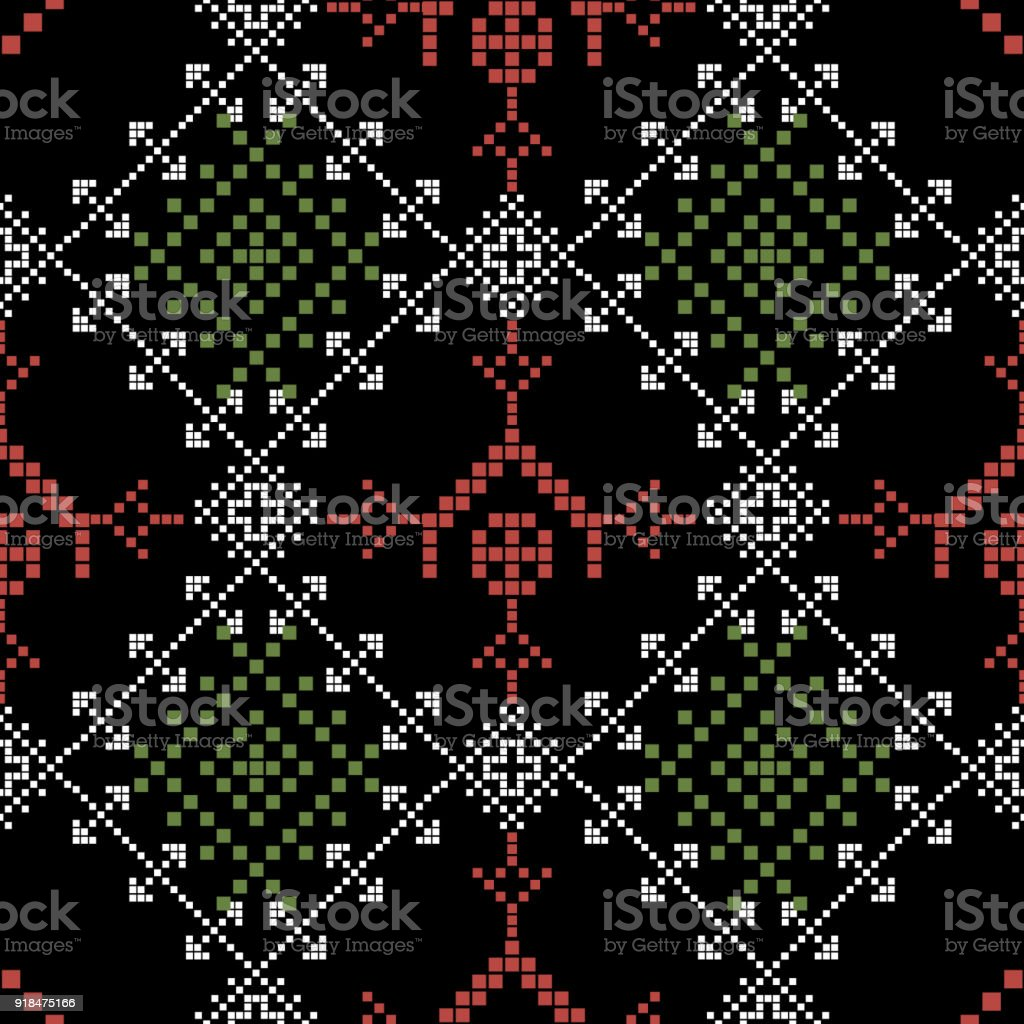 Seamless Cross Stitches Pattern On Black Background Stock