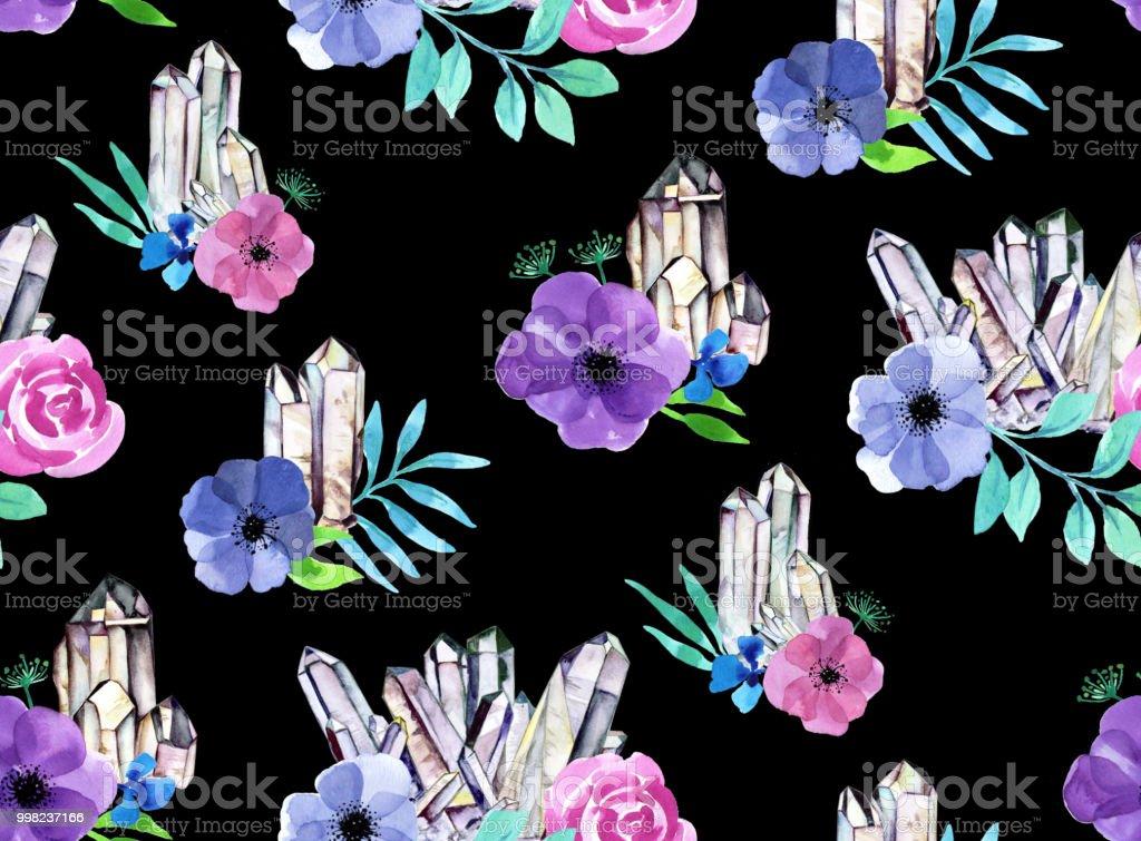 Seamless crystal clusters and floral watercolor background - black vector art illustration