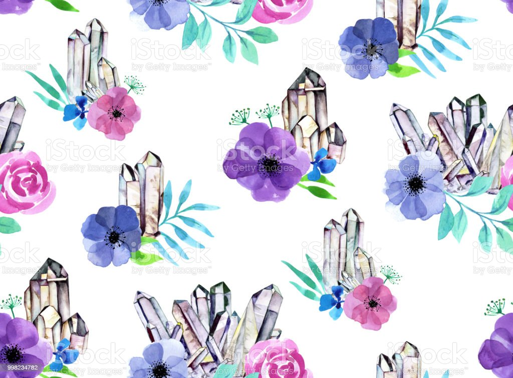 Seamless crystal clusters and floral watercolor background - white vector art illustration