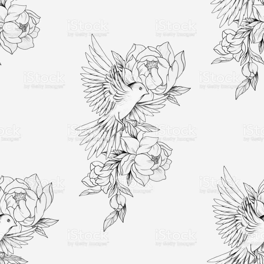 Seamless Drawing Of A Bird In Beautiful Flowers And On A White