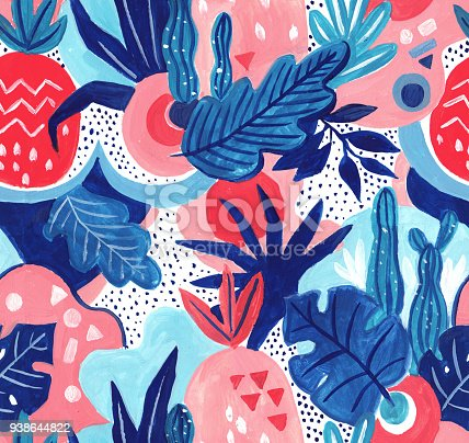 istock Seamless exotic pattern with tropical plants. Hand draw gouache background. 938644822