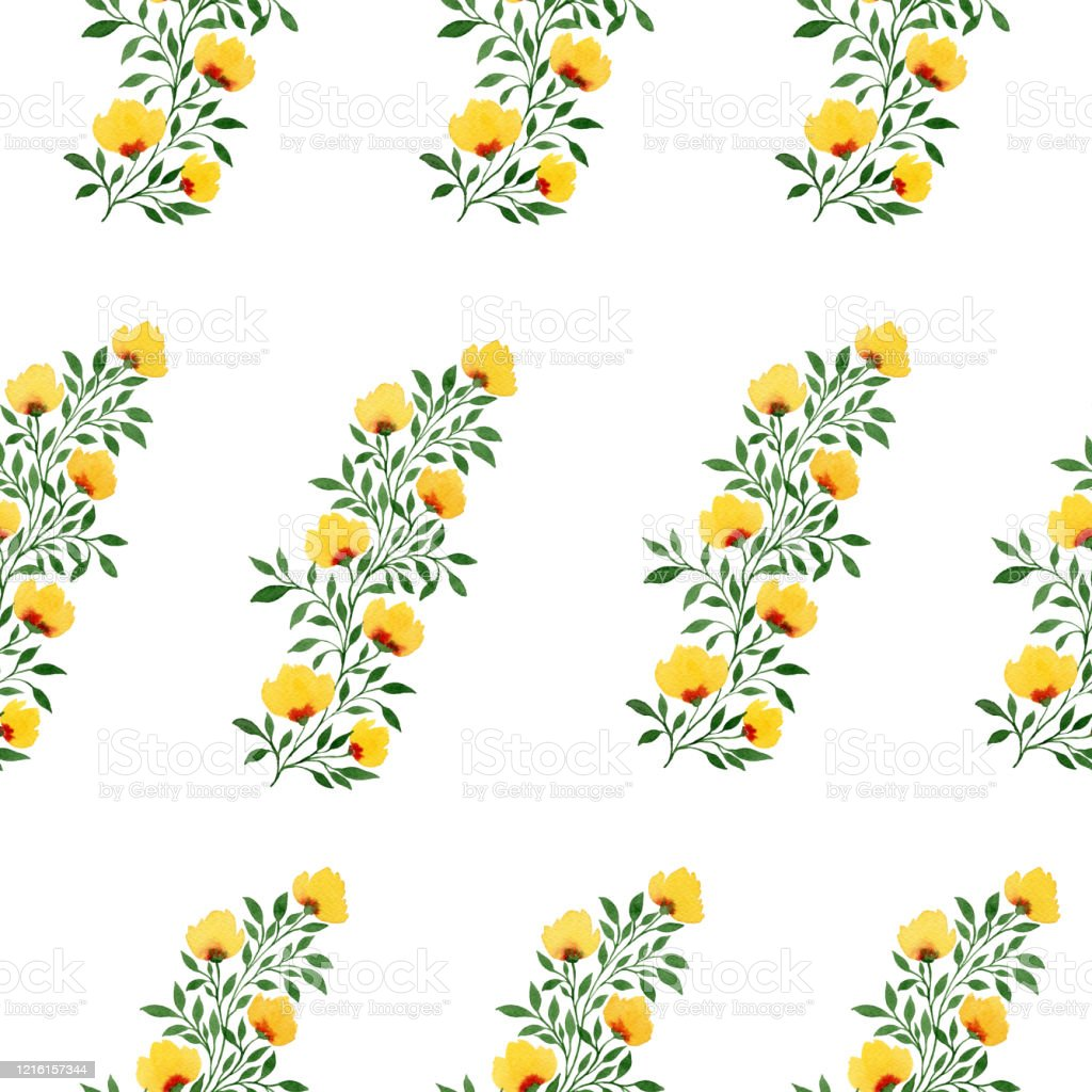Seamless Floral Background With Hand Painted Yellow Flower