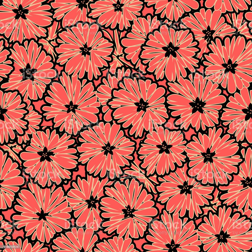 Seamless Floral Daisy Flowers Pattern Background Stock Vector Art
