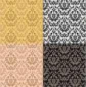 Perfectly Seamless Floral Pattern with 4 color combinations.