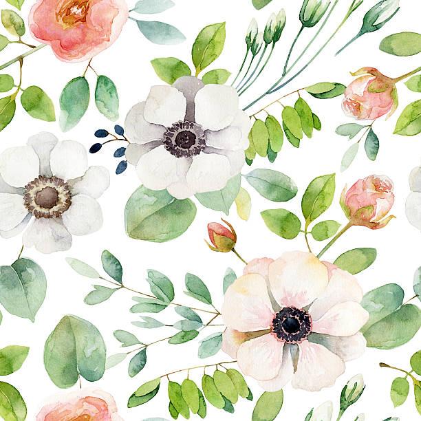 illustrazioni stock, clip art, cartoni animati e icone di tendenza di motivo floreale senza soluzione di continuità - mika