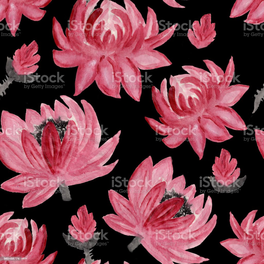 Seamless Floral Pattern In Japanese Folk Painting Style Sumie Pink