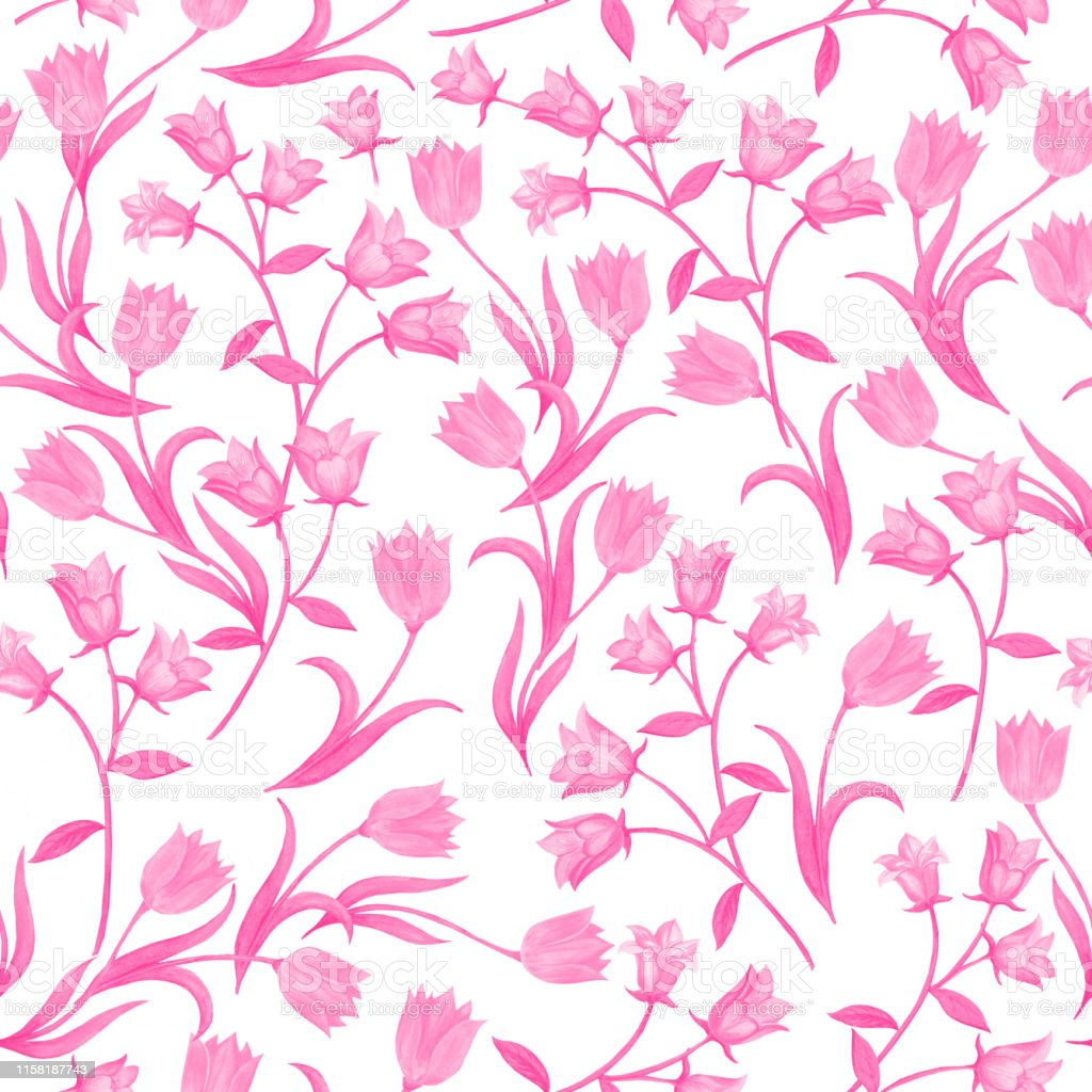 Seamless Floral Pattern Pink Color Flower Silhouettes Randomly