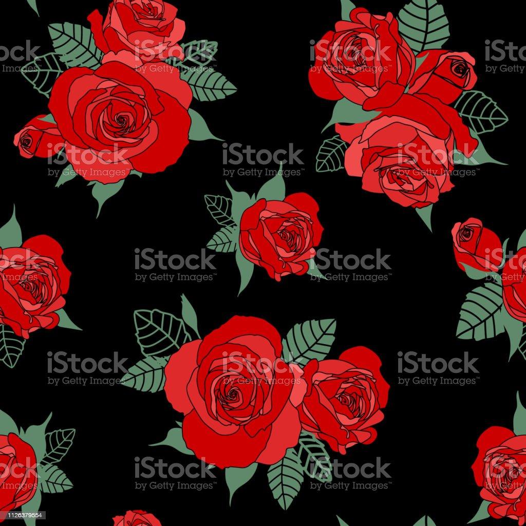 Vetores De Sem Costura Padrão Floral Rosas Vermelhas Em